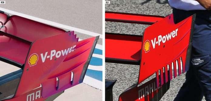 La Ferrari ha portato una nuova versione dell'alettone posteriore rivisto negli endplate