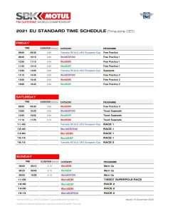 wsbk 2021 schedule