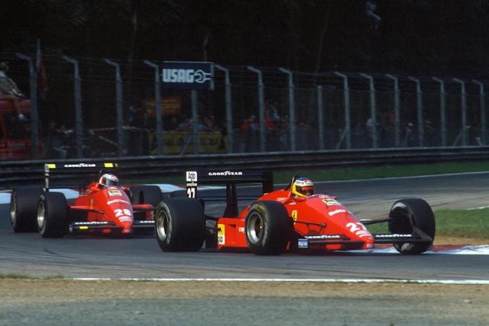 Alboreto davanti a Berger durante le prove del GP d'Italia 1988
