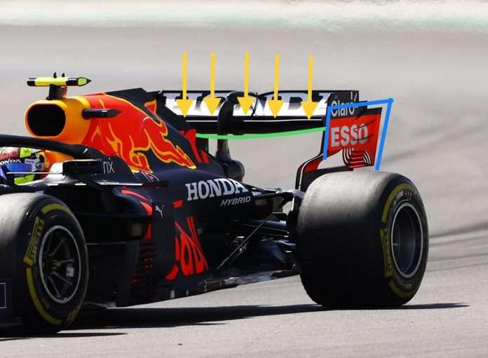 Simulazione della flessione dell'alettone posteriore Red Bull ad alta velocità